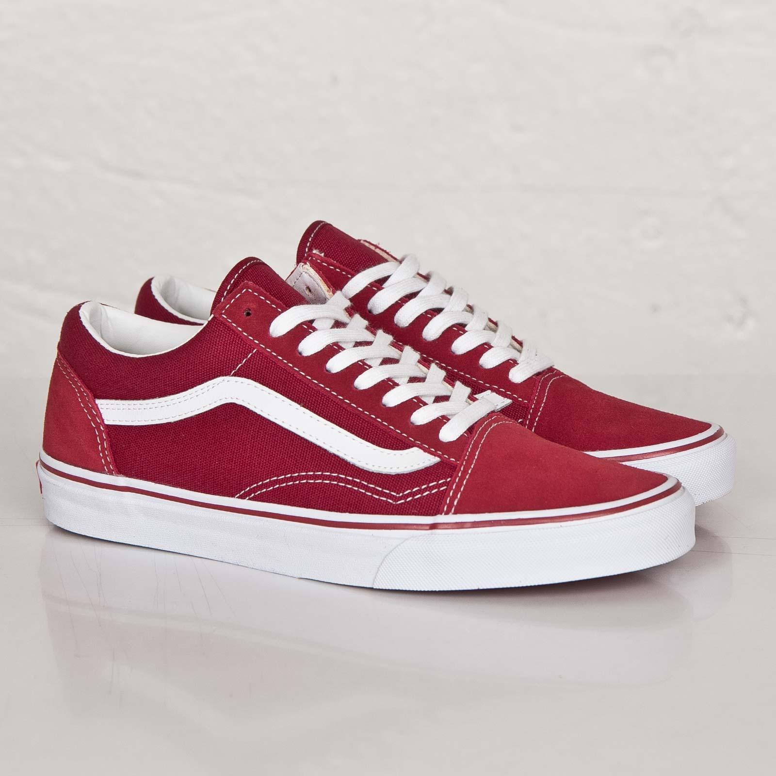vans old skool red true white
