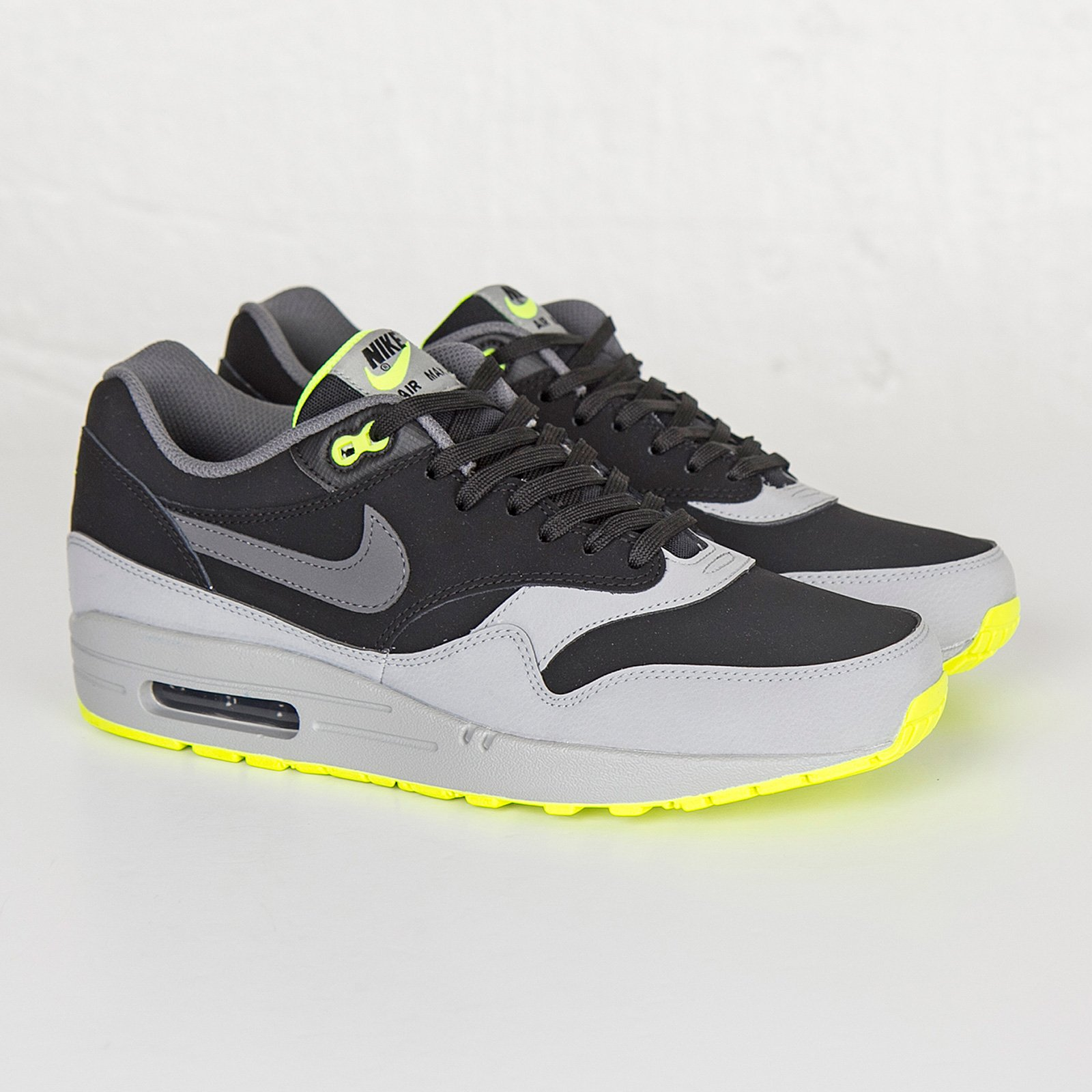Nike Air Max 1 LTR Black Dark Grey Silver Volt | Footshop