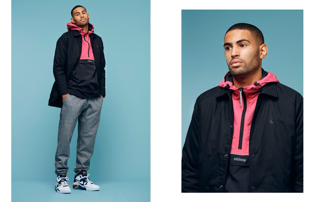 Carhartt Sanford Coat — Stussy Reflective Sports Pullover — Nike Air Force  180 — Reigning Champ Sweatpant 1edfcc2613f1b