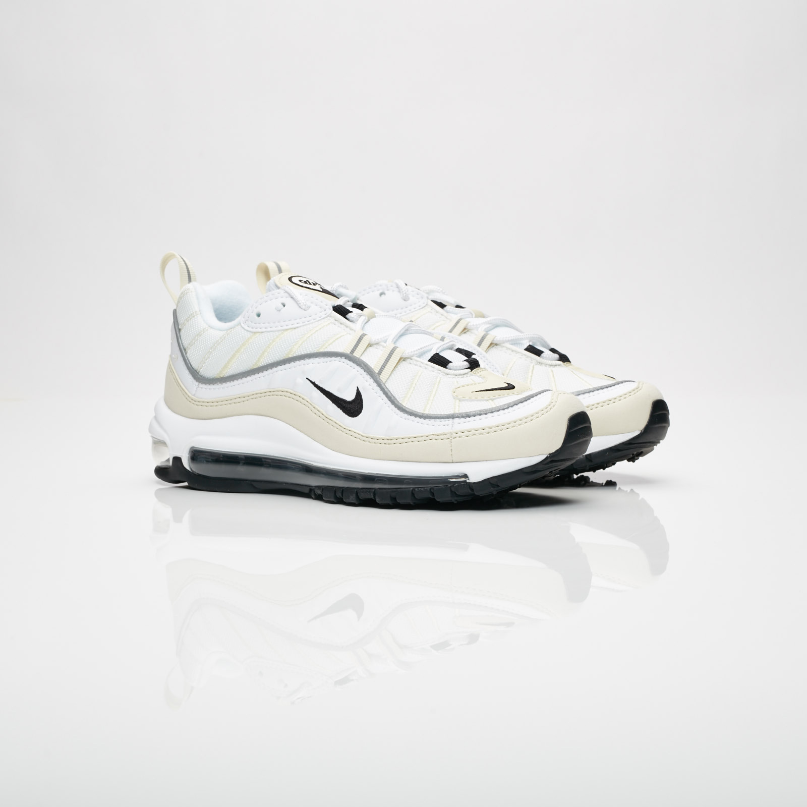 Details about Nike Air Max 98 White Fossil Reflect Silver Black AH6799 102 Women's Size 12