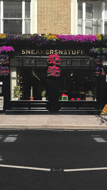 Facade of the Sneakersnstuff store in London.