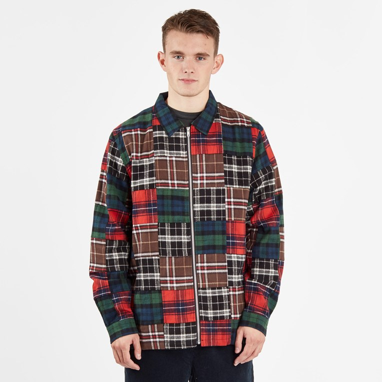 Stussy Patchwork Zip Up Ls Shirt