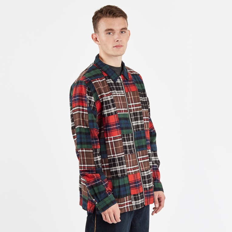 Stussy Patchwork Zip Up Ls Shirt - 2