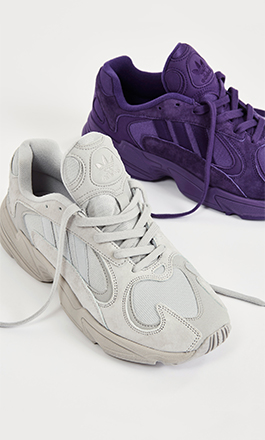 adidas Yung-1 sneakers in grey and purple from the exlusive pack with Sneakersnstuff.