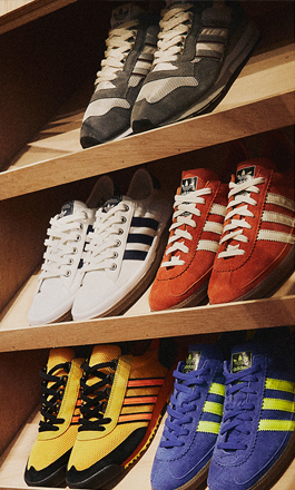 reputable site 9d12a b3676 Shoes from the adidas Spezial drop to summer 2019 on wooden shelves.