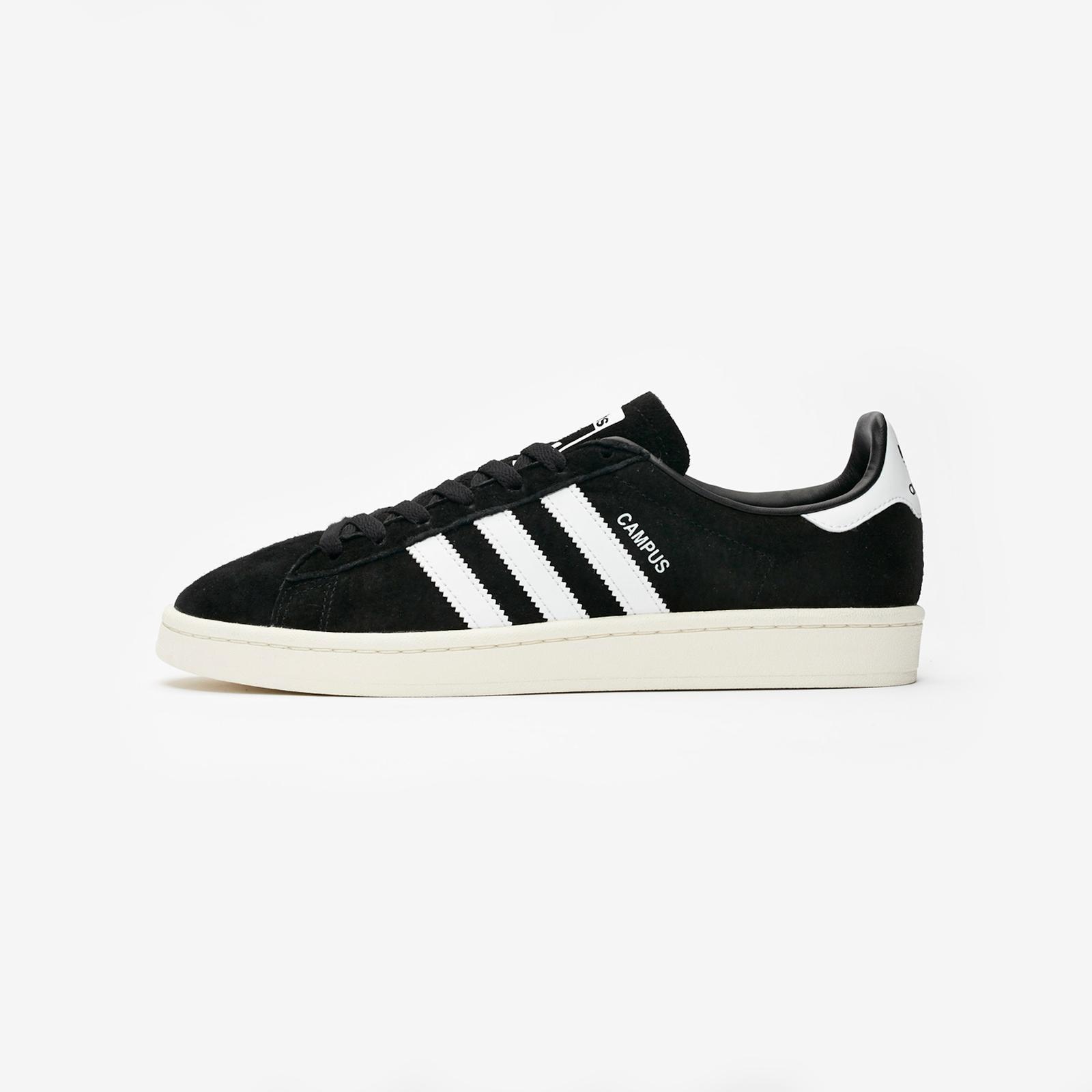 adidas campus all noir white stripes
