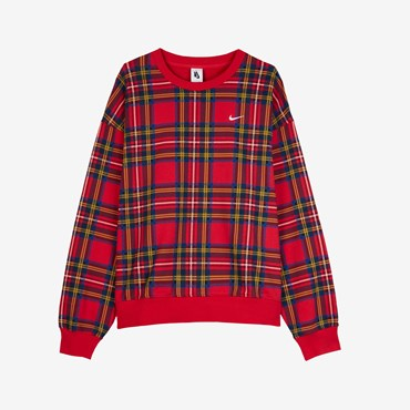 Plaid Swoosh Stripe Crew