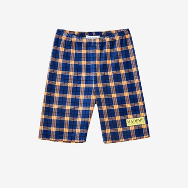 Velour Plaid Biker Short