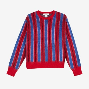 Vertical Striped Mohair Sweater