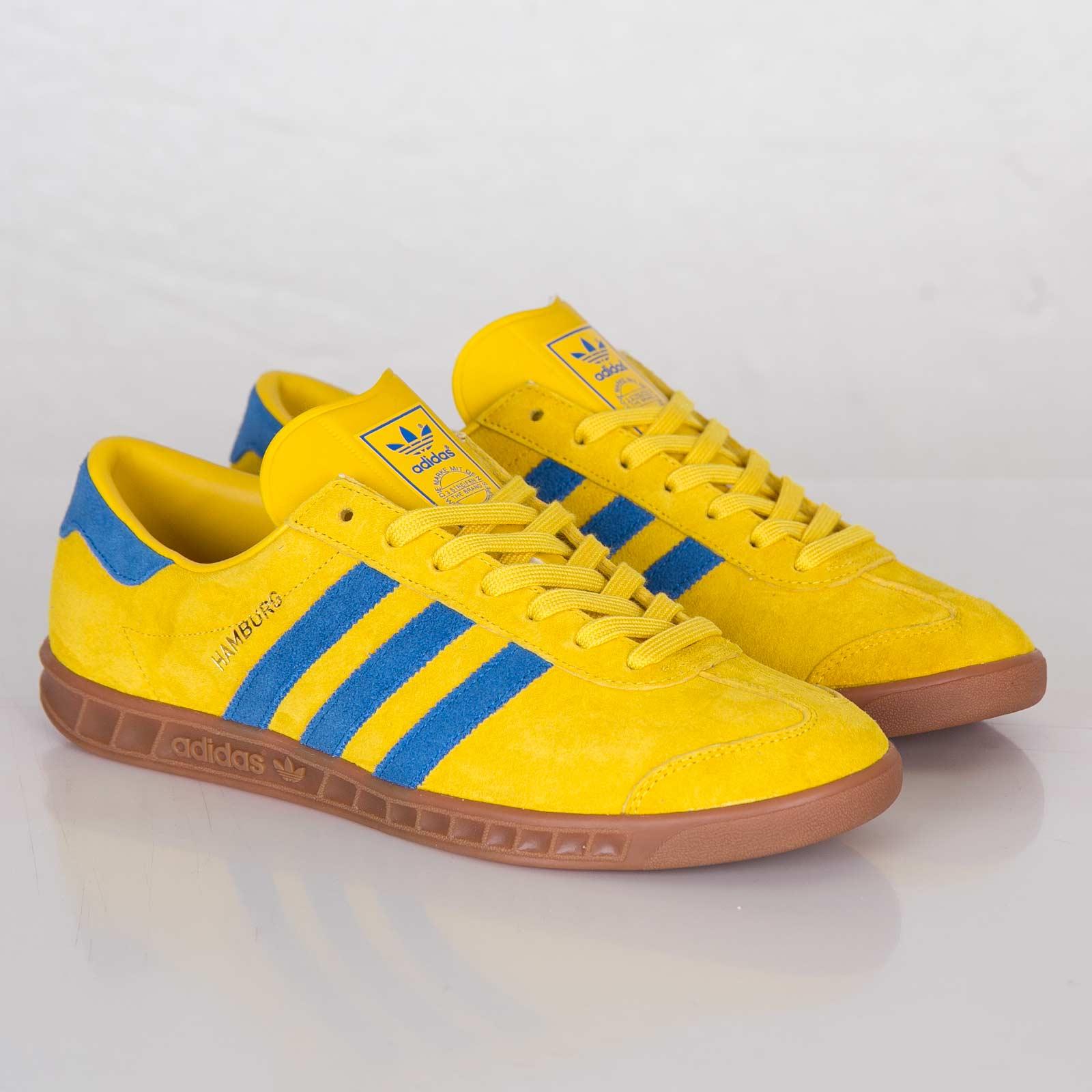 yellow and blue adidas hamburgs